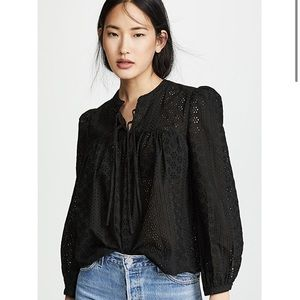 NWT Madewell Eyelet Double Tie Peasant Top